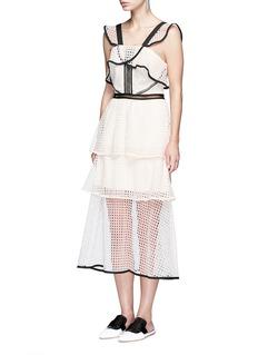 SELF-PORTRAITContrast trim geometric guipure lace ruffle dress