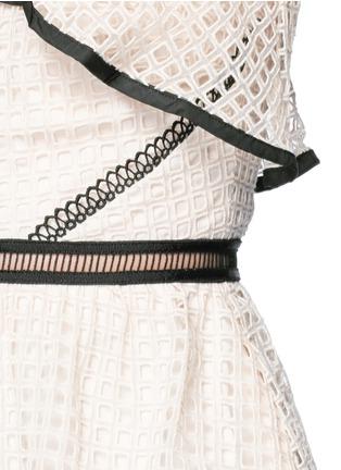 self-portrait-Contrast trim geometric guipure lace peplum top