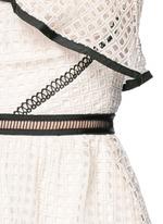 Contrast trim geometric guipure lace peplum top
