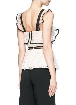 Back View - Click To Enlarge - self-portrait - Contrast trim geometric guipure lace peplum top