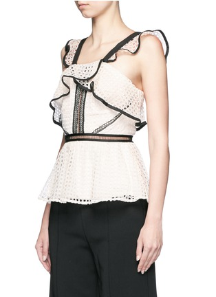 Front View - Click To Enlarge - self-portrait - Contrast trim geometric guipure lace peplum top