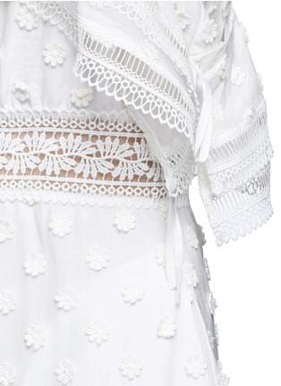 Detail View - Click To Enlarge - self-portrait - Daisy appliqué cold shoulder maxi dress