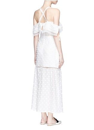 Back View - Click To Enlarge - self-portrait - Daisy appliqué cold shoulder maxi dress