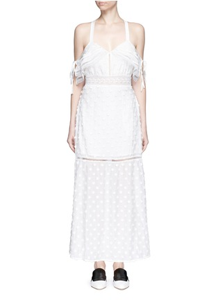 Main View - Click To Enlarge - self-portrait - Daisy appliqué cold shoulder maxi dress