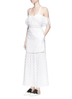 SELF-PORTRAITDaisy appliqué cold shoulder maxi dress