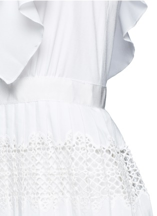 Detail View - Click To Enlarge - self-portrait - 'Victoria' broderie anglaise trim plissé pleat tier dress