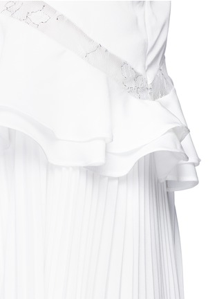 Detail View - Click To Enlarge - self-portrait - 'Amelia' lace insert peplum waist pleat dress