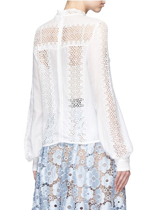 self-portrait - Balloon sleeve guipure lace panel blouse