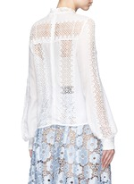 Balloon sleeve guipure lace panel blouse