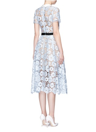 Back View - Click To Enlarge - self-portrait - 'Flower Garden' contrast panel guipure lace dress