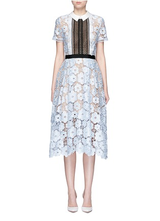 Main View - Click To Enlarge - self-portrait - 'Flower Garden' contrast panel guipure lace dress