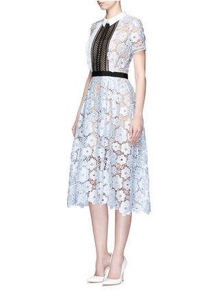 self-portrait-'Flower Garden' contrast panel guipure lace dress