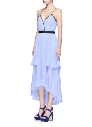 Figure View - Click To Enlarge - self-portrait - 'Bella' lace trim pleat chiffon dress