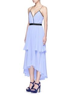 SELF-PORTRAIT'Bella' lace trim pleat chiffon dress