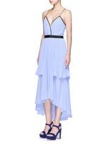 'Bella' lace trim pleat chiffon dress