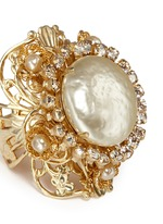 Swarovski crystal glass pearl filigree ring