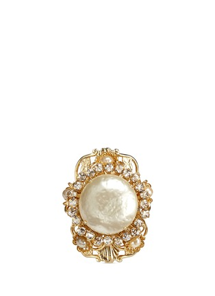 Miriam Haskell - Swarovski crystal glass pearl filigree ring