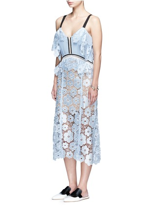 Figure View - Click To Enlarge - self-portrait - 'Anemone' floral guipure lace dress