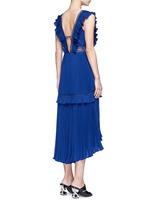 'Calla' V-neck plissé pleat flounced dress