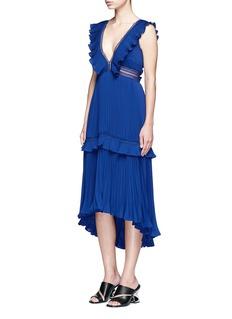 self-portrait'Calla' V-neck plissé pleat flounced dress