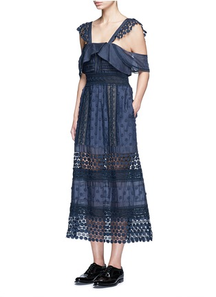 Figure View - Click To Enlarge - self-portrait - 'Bluebell' floral appliqué lace trim dress