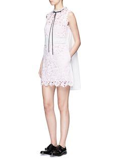 SELF-PORTRAITBack ruffle neck guipure lace dress