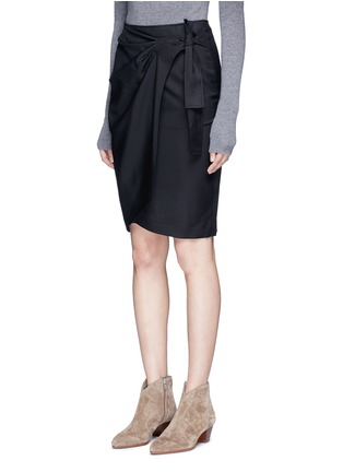 Front View - Click To Enlarge - Isabel Marant Étoile - 'Natacha' tie side virgin wool wrap skirt