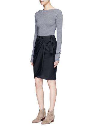 Figure View - Click To Enlarge - Isabel Marant Étoile - 'Natacha' tie side virgin wool wrap skirt