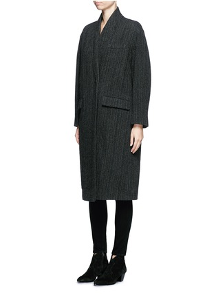 Front View - Click To Enlarge - Isabel Marant Étoile - 'Henley' herringbone virgin wool boyish coat