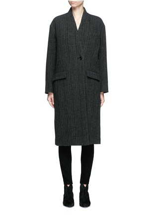 Main View - Click To Enlarge - Isabel Marant Étoile - 'Henley' herringbone virgin wool boyish coat