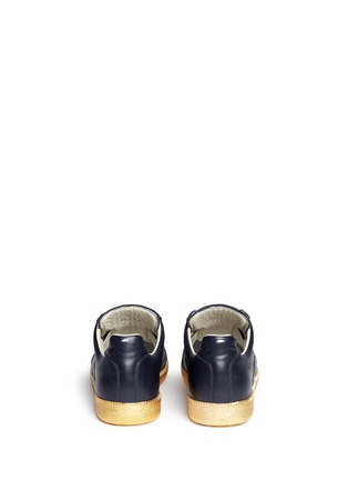 Back View - Click To Enlarge - MAISON MARGIELA SHOES - 'Replica' metallic sole leather sneakers