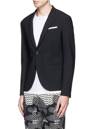 Front View - Click To Enlarge - Neil Barrett - Peak lapel stretch gabardine skinny fit blazer