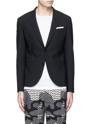 Main View - Click To Enlarge - Neil Barrett - Peak lapel stretch gabardine skinny fit blazer
