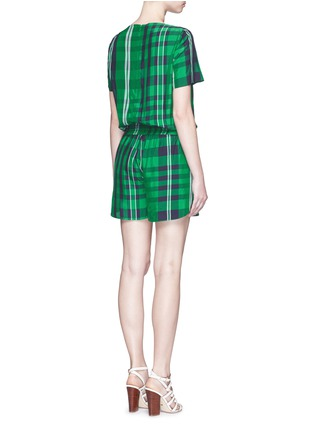 Back View - Click To Enlarge - Stella McCartney - 'Aurore' gingham check boat neck rompers
