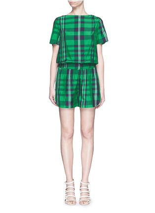 Main View - Click To Enlarge - Stella McCartney - 'Aurore' gingham check boat neck rompers