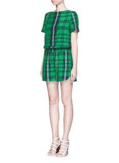 STELLA MCCARTNEY 'Aurore' gingham check boat neck rompers