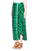 'Darmouth' gingham check asymmetric cropped pants