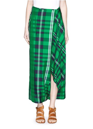 Stella McCartney - 'Darmouth' gingham check asymmetric cropped pants
