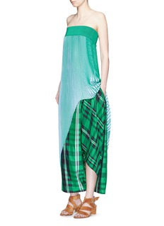 STELLA MCCARTNEY 'Darmouth' gingham check asymmetric cropped pants