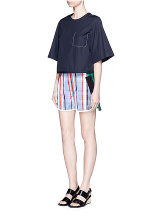 Figure View - Click To Enlarge - Stella McCartney - 'Kristelle' mix check print patchwork jogging shorts
