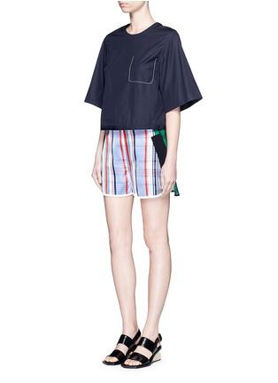 Stella McCartney-'Kristelle' mix check print patchwork jogging shorts