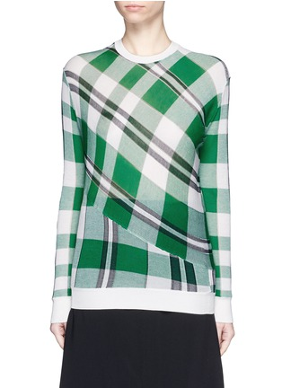 Main View - Click To Enlarge - Stella McCartney - Solid check cotton knit sweater
