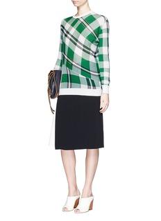 STELLA MCCARTNEYSolid check cotton knit sweater