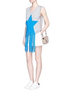 STELLA MCCARTNEY Fringed star patch cotton sleeveless T-shirt