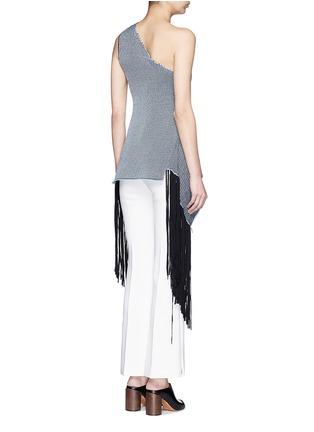 Back View - Click To Enlarge - Stella McCartney - One-shoulder knit fringe top