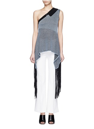 Main View - Click To Enlarge - Stella McCartney - One-shoulder knit fringe top