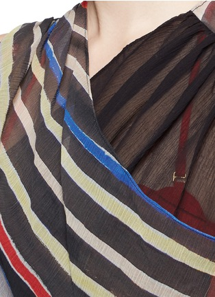Detail View - Click To Enlarge - Marysia - 'Newport' stripe colourblock overlap cotton-silk dress