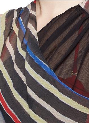 Detail View - Click To Enlarge - Marysia - 'Newport' stripe colourblock overlap cotton-silk dress