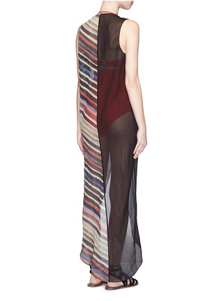 Back View - Click To Enlarge - Marysia - 'Newport' stripe colourblock overlap cotton-silk dress