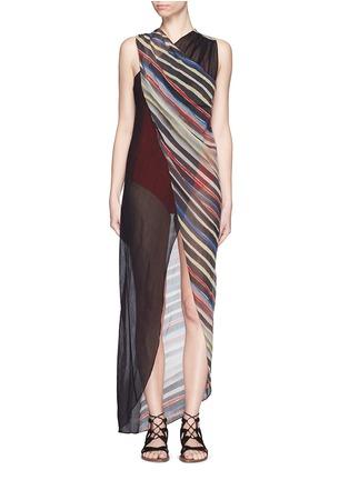 Main View - Click To Enlarge - Marysia - 'Newport' stripe colourblock overlap cotton-silk dress